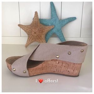 🦋LUCKY BRAND BANDAGE CORK WEDGE SANDALS